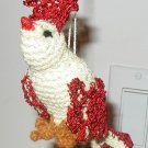 BIRD HAND CROCHET ORNAMENT YELLOW / RED MADE U.S.A