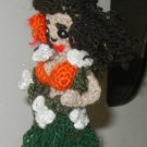 HAWAIIAN HULA GIRL DOLL CROCHET ORNAMENT HAND MADE USA