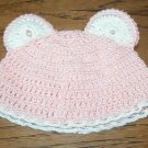 "BABY HAT infant NEWBORN CROCHET SMALL 15"" CIR- - PEACH PINK made in USA TEDDY BEAR EAR"