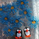 "10 CROCHET Appliques 8 BLUE GOLD 2 1/2""  CORN FLOWERS 2 PENGUINS  2 INCH  - PENGUIN USA AMERICAN"