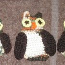 3 CROCHET OWL OWLS Appliques  SEW ON HAND MADE MADE IN AMERICA USA