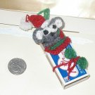 "MINIATURE mouse in matchbox ORNAMENT HANDMADE CROCHET USA 4"" TALL DOLL TOY"