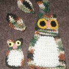 2 owls Appliques for sewing on purse hat sweater towels 3 leaves