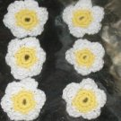 """10  Crochet flower buttons for quilts appliques  sewing  to be sewed on.  measure 1 1/2"""""""