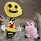 "3 CROCHET Appliques  =- BUZZY BEE 4"" - HAPPY FACE 3 1/2"" -  BABY PIG  3 1/2""  LARGE ONES"