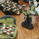 "TROLL CROCHET ART. MADE WITH YARN  Tree measures 9"", bed measures 6"" long and 5 1/2"" wide,"