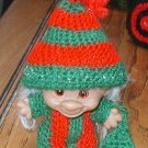 "TROLL outfit.  red and green striped jamies with hat. 3"" doll"