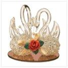 Twin Swans Firming Glass Figurine