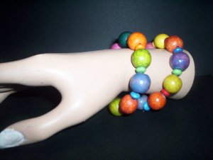 rainbow wooden round beads