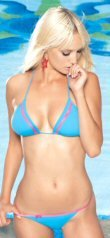2 PC Bikini Swim Suit Aqua Blue with Neon Pink Trim