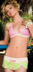 Polka Dot and Stripes Bikini with Triangle Top and Skirted Bottom