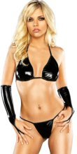 2 Piece Wet Look Triangle Bra and G-String Set