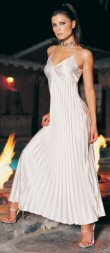 Long Pleated Satin Gown - White