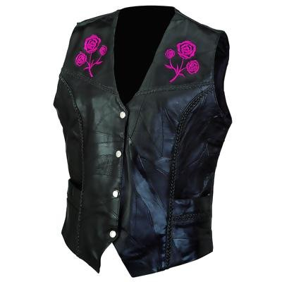 Ladies Rose Design Leather Vest