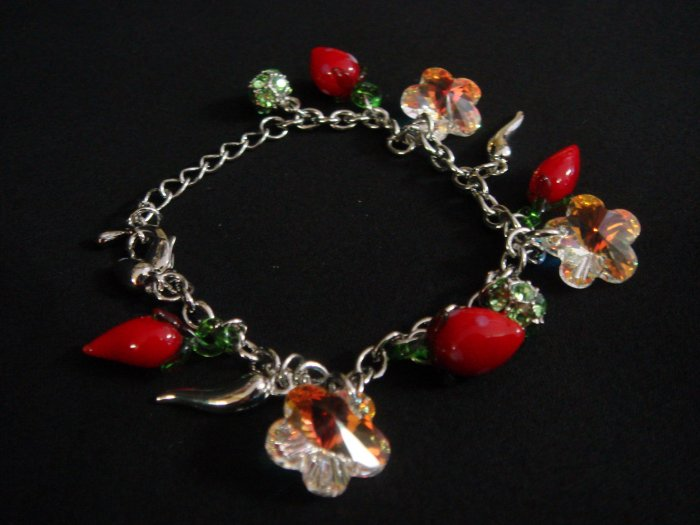 Swarovski Crystal 'Peppers and Strawberries' Bracelet