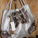 Lady Handbag( #6068B Silver & Light Brown Colour)$69.99