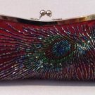 Burgundy satin Evening Bag w/ Peacock feather beading $79.99 #EV8