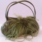 Soft Green Satin Evening Bag w/ feathers and beading #39.99 #Ev10