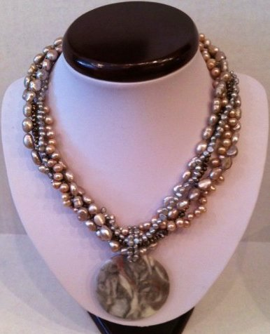 Pink mulit strand freshwater pearl necklace $89.99 #FWPN