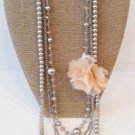 Faux Pearl and chiffon flower necklace/earring set $39.99 #5113