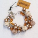 crochet covered faux pearl and crystal bracelet $29.99 #2319