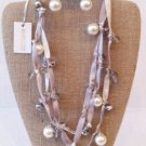 Ribbon and Faux pearl necklace/earring set $ 59.99 #5724