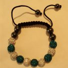 Teal and White crystal covered Shamballah bracelet $29.99