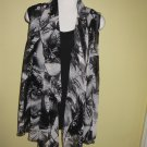 black and white print vest w/black tank top $69.99 #9106-6