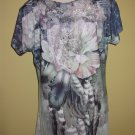 floral print tee  with lace aplique back $49.99 #T168-37op