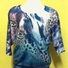3/4 sleeve sweater with animal print $69.99 #T2043-1