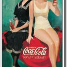 "Coca-Cola ""Bathers"" 50th Anniversary small metal sign #1073 $20.00"