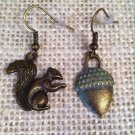 Green Metal Squirel and Acorn Earrings $14.99 #138E640G