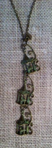 Green Metal, Tri-Birdcage Necklace $29.99 #138N539G