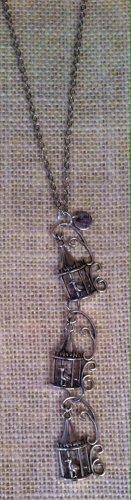 Silver Metal, Tri-Birdcage Necklace $29.99 #138N539AS