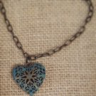 Blue, metal heart locket bracelet $19.99 #131B395BL
