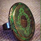 Green, metal oval locket ring $16.99 #JOWLRIG