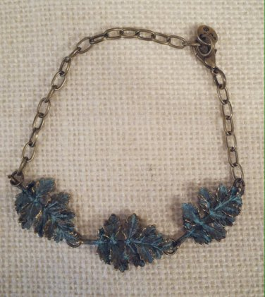 Metal, blue leaf bracelet $19.99 #138B588BL