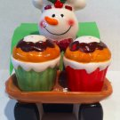 Ceramic glazed Snowman Salt & Pepper shaker set w/ napkin holder  $16.99 #H539