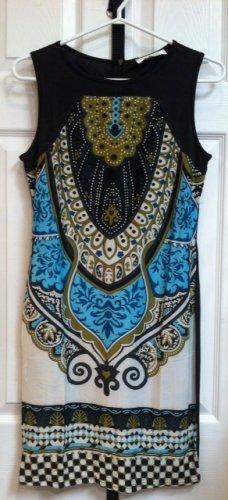 Sleeveless modern Paisley print shift dress $45.00 #P1308