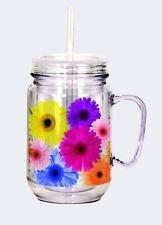 Flowers Acrylic Mason Jar w/straw $14.99 #17948