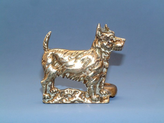 VINTAGE BRASS SCOTTISH TERRIER POKER STAND 1930s. #1p