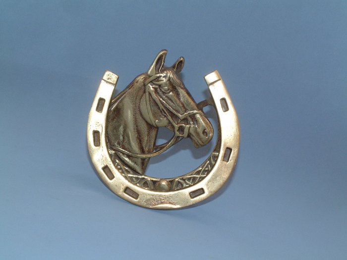 VINTAGE ENGLISH BRASS HORSE & SHOE DOORKNOCKER 1930s. #1p