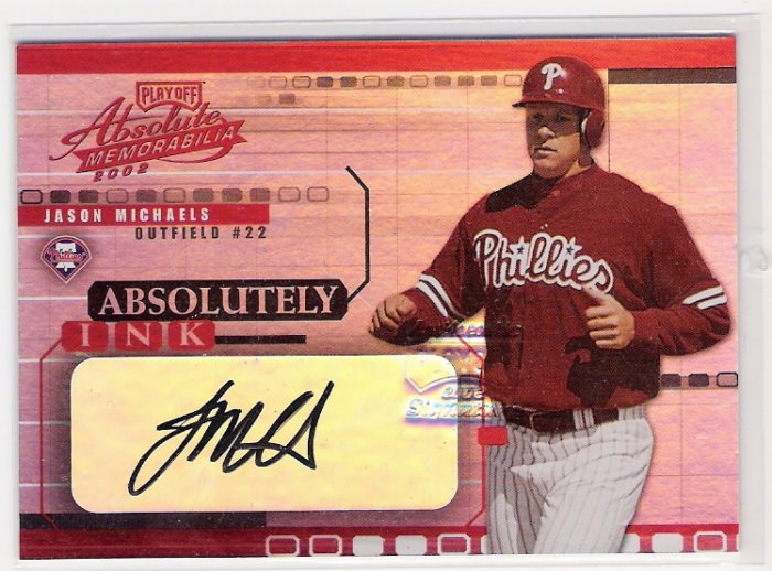 2002 ABSOLUTE MEMORIABILIA JASON MICHAELS PHILLIES ABSOLUTELY INK AUTO CARD
