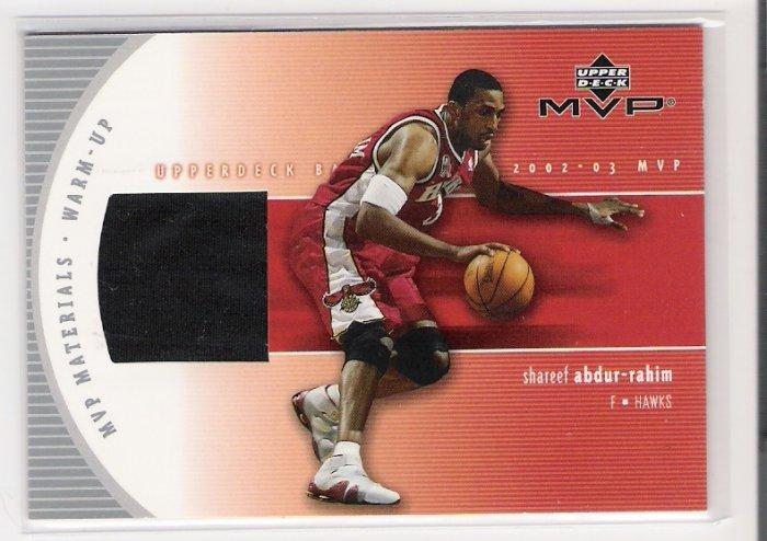 2002-03 UD MVP MATERIALS SHAREEF ABDUR-RAHIM HAWKS WARM-UP CARD