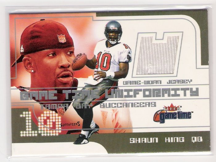2001 FLEER GAME TIME UNIFORMITY SHAUN KING BUCCANEERS GAME-WORN JERSEY CARD