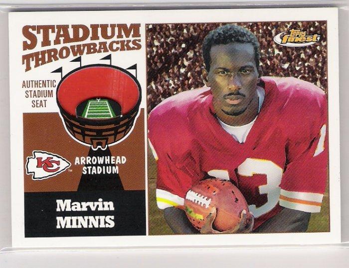 2001 TOPPS FINEST STADIUM THROWBACKS MARVIN MINNIS CHIEFS ARROWHEAD SEAT CARD