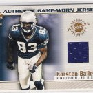 2002 PACIFIC PRIVATE STOCK KARSTEN BAILEY GAME WORN JERSEY CARD