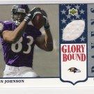 2002 UD GLORY BOUND RON JOHNSON RAVENS JERSEY CARD