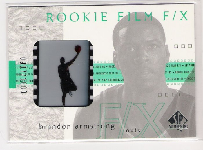 2001-02 SP AUTHENTIC ROOKIE FILM F/X BRANDON ARMSTRONG NETS FILM CARD