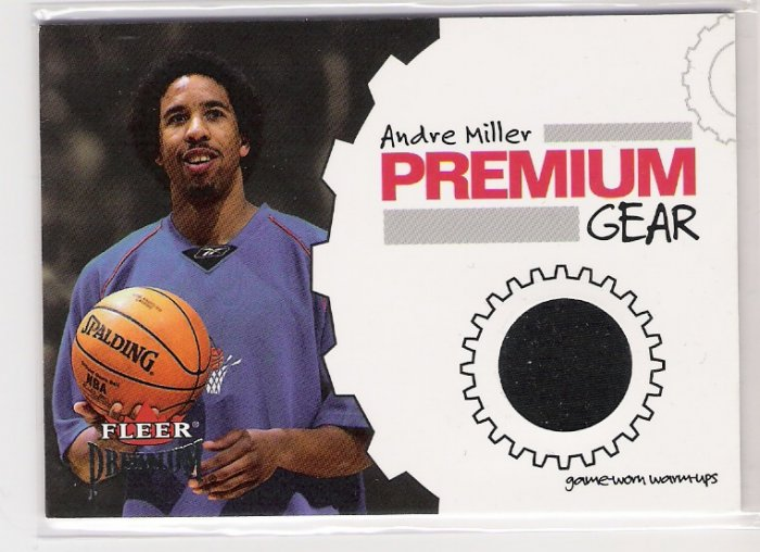 2002-03 FLEER PREMIUM GEAR ANDRE MILLER CLIPPERS GAME WORN WARM UPS CARD